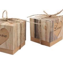 100 Uds Bombonera para boda Corazón en amor rústico Kraft corteza Cajas de caramelos con arpillera Chic caja de regalo de boda Vintage