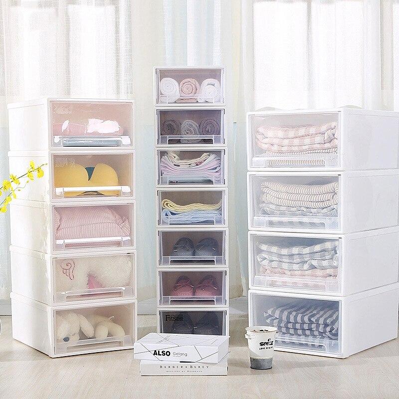 Drawer Storage Cabinet Plastic Closet Storage Box Underwear Bra Socks Tie Case Thickening Kids Lockers Shoe Organizer Container