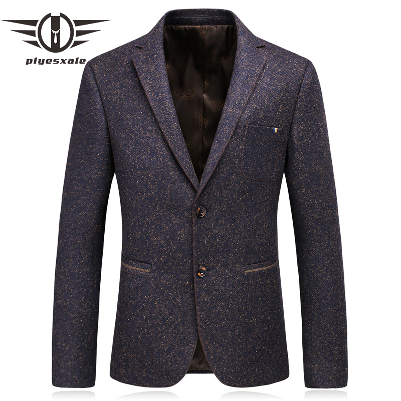Plyesxale Wool Blazer Men 2018 New Arrival Autumn Single Breasted Retro Purple Casual Blazer Jackets For Men Formal Suit Q192