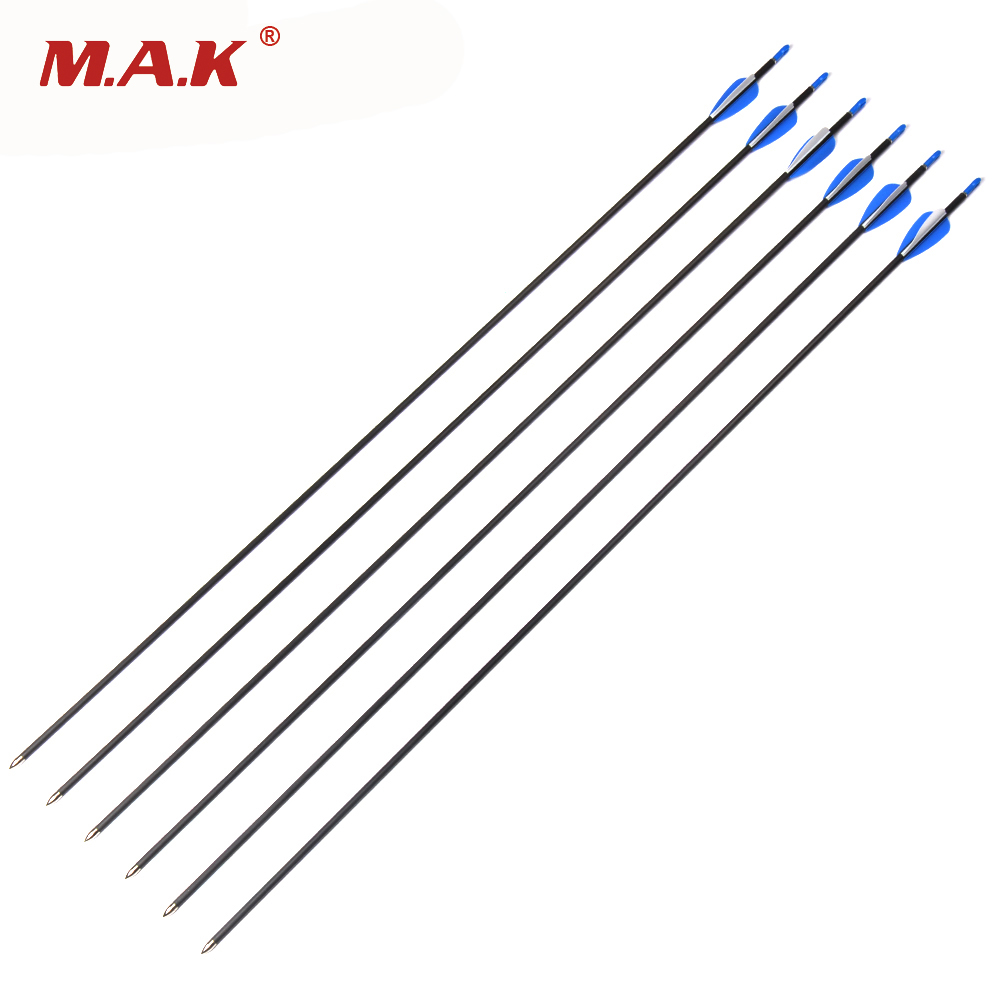 6/12/24pcs 30 Inches Spine 700 Pure Carbon Arrows for 30-40 lbs Recure BowsHunting Shooting Archery spine lady 357 40
