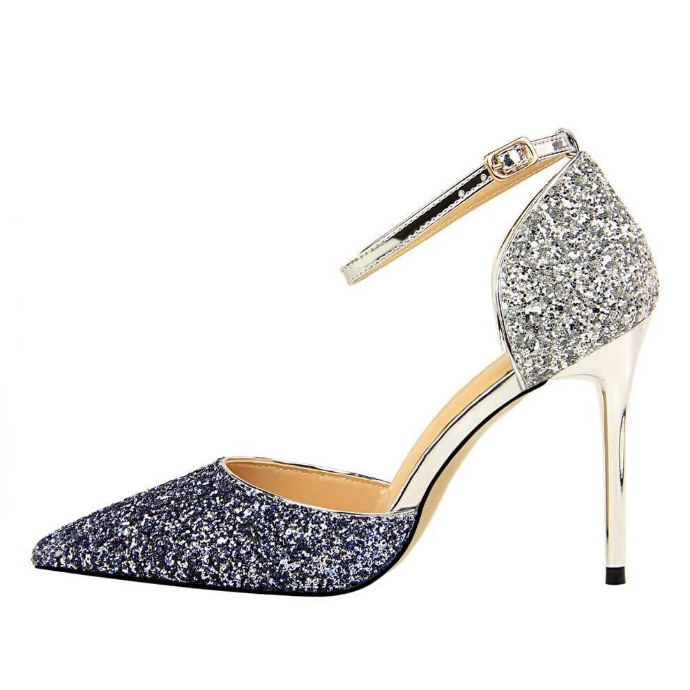 c0f410da8ee ... 2019 Women 10cm Stiletto High Heels Glitter Sandals Lady Sexy Sequins  Blue Gold Silver Wedding Pumps ...