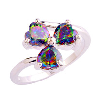 lingmei Wholesale Alluring Jewelry Finger Rings Heart Rainbow Topaz 925 Silver Ring Size 7 8 9 10 Love Style Gift Free Shipping