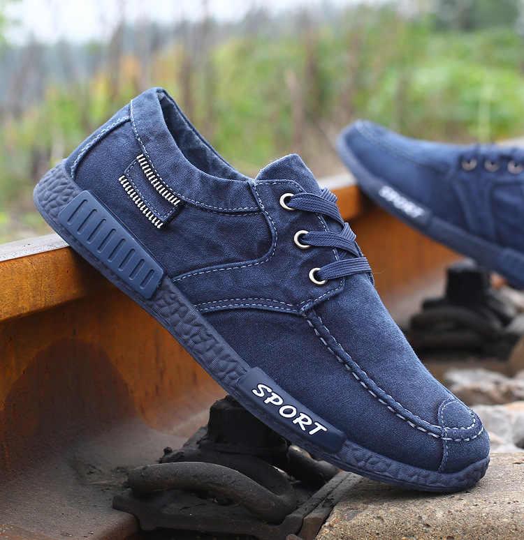 แฟชั่นผู้ชายผ้าใบรองเท้าชายฤดูร้อน Casual Denim รองเท้าบุรุษรองเท้าผ้าใบ Loafers ขับรถ Moccasin Chaussure Homme สีดำ H71