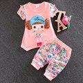 Летние девочки одежда с коротким рукавом костюм 2016 корейский девочка детская одежда свободного покроя спорт печать майка + брюки устанавливает
