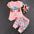 Ropa del bebé del verano traje de manga corta para 2016 bebé coreano niña niño ropa deportiva ocasional impresión de la camiseta + pantalones conjuntos