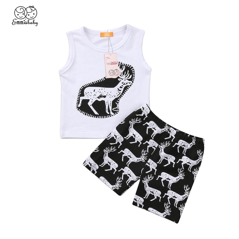 New Years Costumes For Boys Newborn Baby Boy Deer T-shirt Sleeveless Top+Shorts Pants 2Pcs Hot Sale Baby Boy Cotton Clothes Set