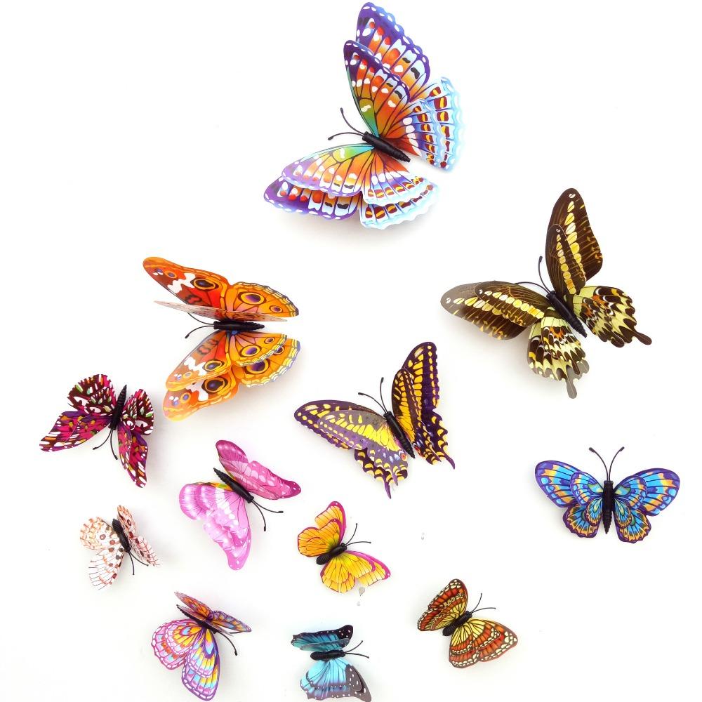 12 шт. пвх 3д DIY бабочка дизайн световой светятся в темноте наклейка магнитный магнит прилипания двойной перо наклейки на стену домашний декор