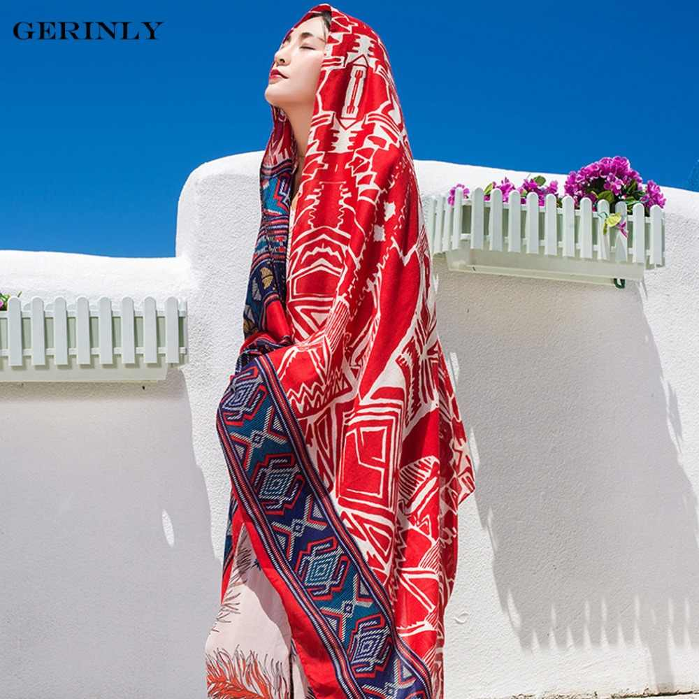 81f4e2030e Ethnic Printed Pareo Swim Wrap Scarf Women Summer Holiday Beach Cover Up  Exotic Beach Sarongs Bikini