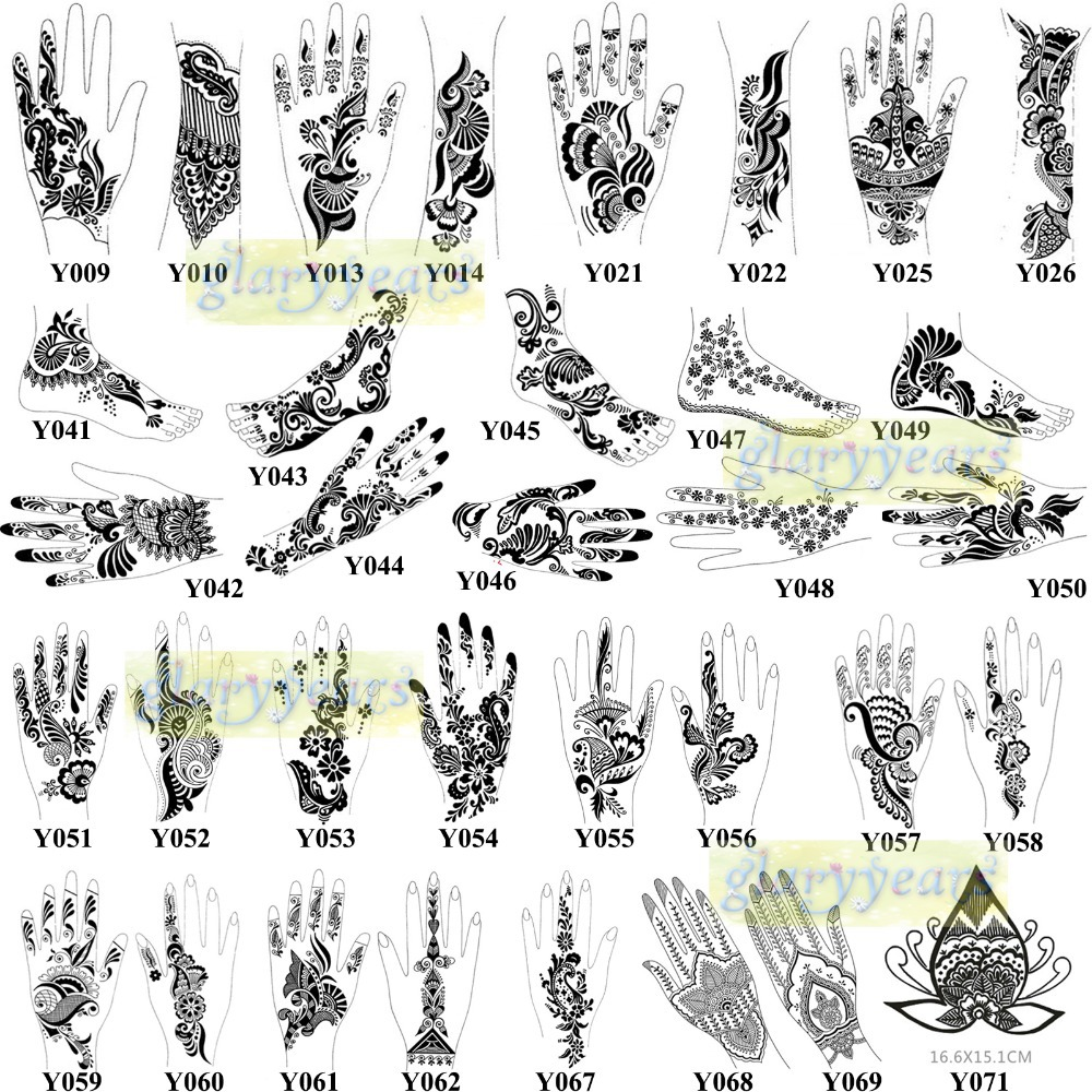 1pc Large Mehndi Henna Glitter Temporary Tattoo Stencil Paper Template Women Leg Arm Foot Hand Body Art Paint Airbrush Paste In Tattoos From