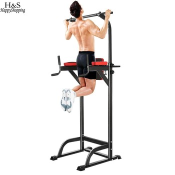 Power Tower Chin Up Bar Adjustable Abs Pull up Bar Workout Knee Crunch Triceps Station Exercise Sport Fitness Equipment wrench