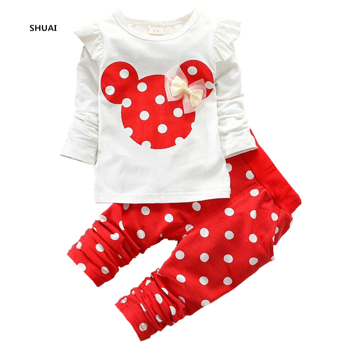 New Baby Girls Minnie Clothing Sets Autumn Character Cotton Long Sleeve Shirt +Pants Children Clothing Set Kids Clothes