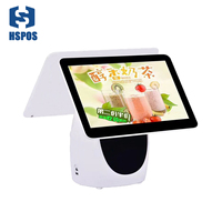 New ALU Metal shell 15.6 Inch LED Display POS Dual Touch Screen With WIFI and Built in 80mm Auto Cutter Printer for Supermarket