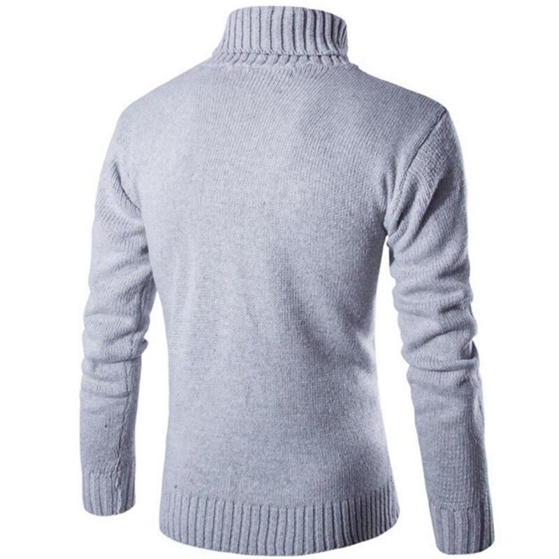 Covrlge 2017 Male Sweater Pullover Slim Warm Solid High Lapel Jacquard Hedging British Men's Clothing Mens Turtleneck Mzm030 #3