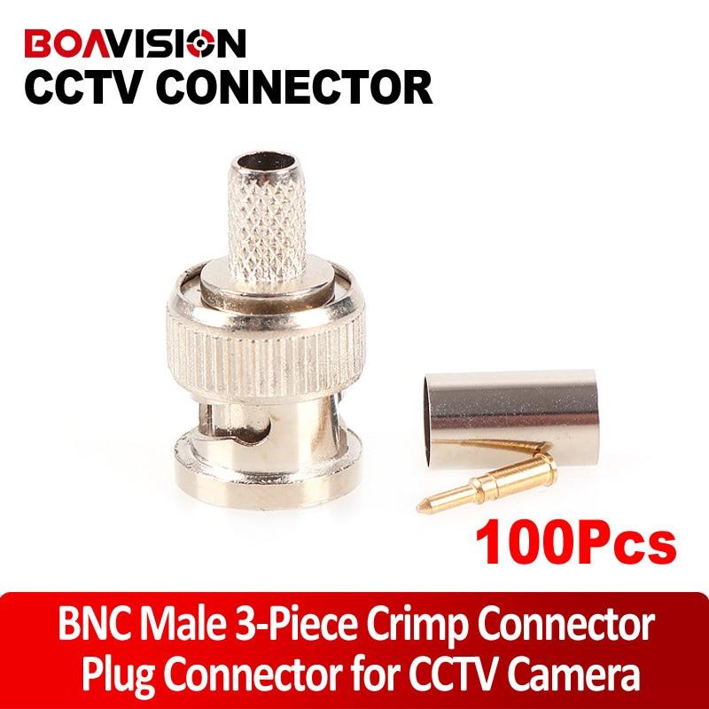 BNC Male Crimp Plug Connector RG59 Coaxial Cable BNC Connector BNC Male 3-Piece Crimp Connector Plugs RG59 100Pcs  цены