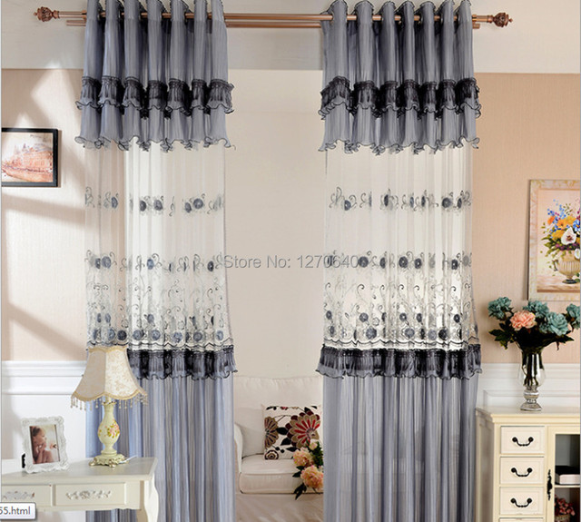 Korean Style Gray Window Dressing Ideas Embroidery Curtains Designs For Bedroom 96 Inch Lace Curtain Panel Custom D