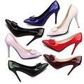 Nueva Llegada de Corea Moda Sexy Zapatos de Punta estrecha de Las Mujeres Solid Charol Superficial Dulce Bowtie Zapatos de Tacones Altos para mujeres