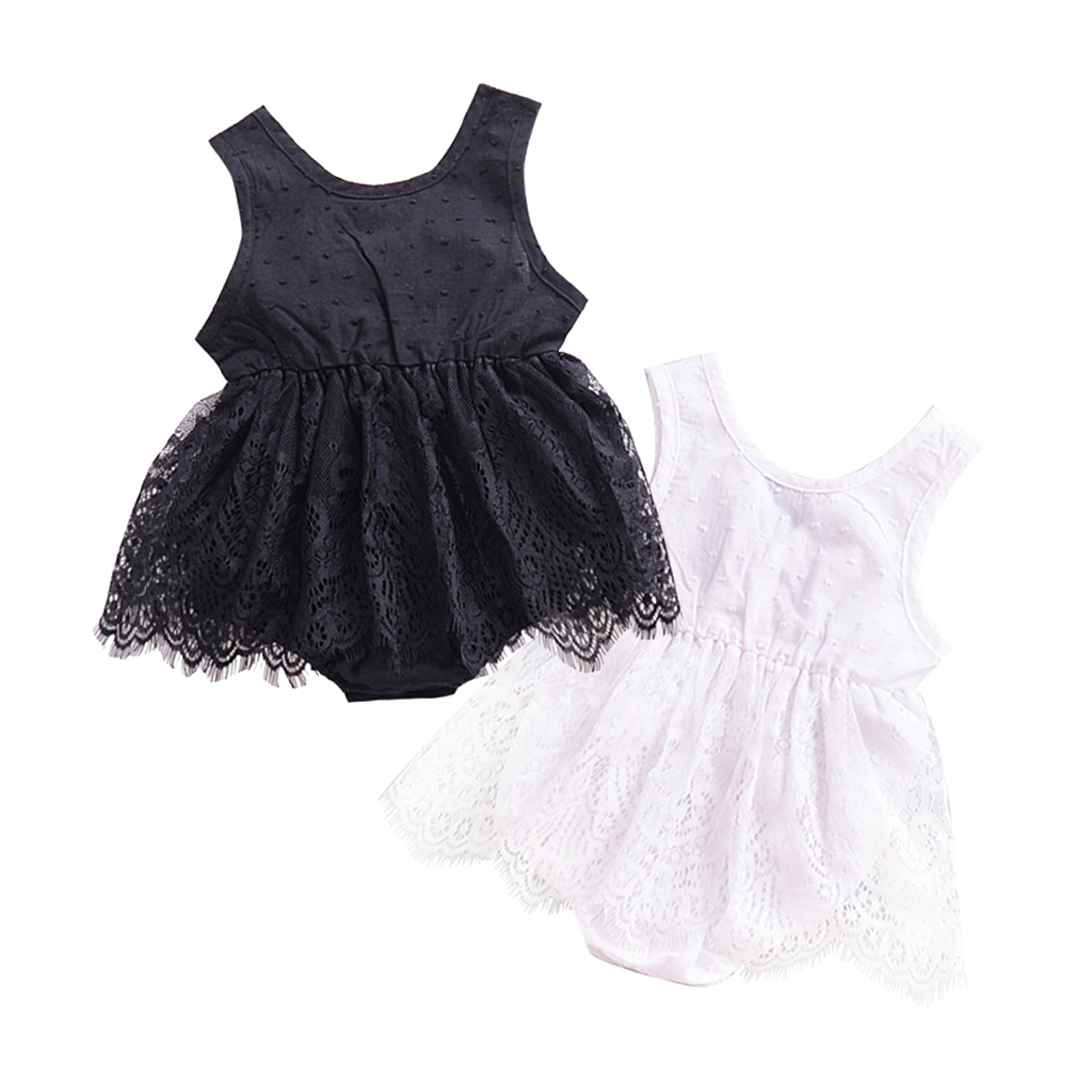 Summer Baby bodysuits girl white black solid color lace sleeveless Sleeping jumpsuit infant toddler clothes