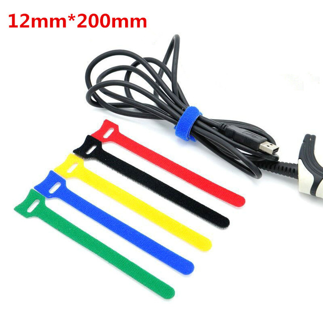 10Pcs 12x200mm Magic Tape Wiring Harness tapes Cable Tie Cord