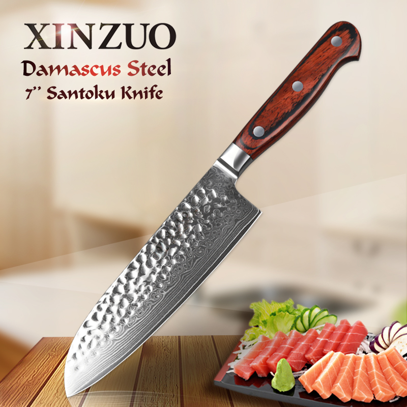 XINZUO NEW 7 inch Japanese chef knife Damascus stainless steel kitchen knives VG10 kitchen tool pakka
