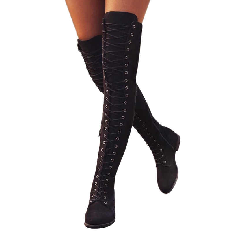 Sexy Lace Up Over-the-Knee Boots Women Thigh High Boots Women Winter Boots Flat Heel Shoes Woman Suede Western Knee-high Boot