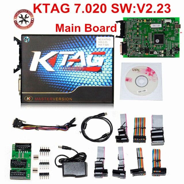 100% لا الرموز 7.020 KTAG K tag V7.020 V2.23 على الانترنت ماستر KTAG V7.020 K TAG ECU رقاقة ضبط لسيارة شاحنة الهدايا ECM Winols