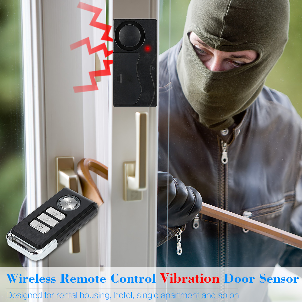 Vibration Alarm Sensor Detector Remote Control Wireless Door Window Security Alert Anti Lost home house Safety Guard Protecting leshp 105db wireless remote control door vibration alarm sensor door window home security sensor detector with remote control