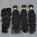 7A Grade Unpressed Preuvian 3 Bundles Water Wave With Silk Base Closure Peruvian 100% Human Virgin Hair DHL Free Shipping Hot
