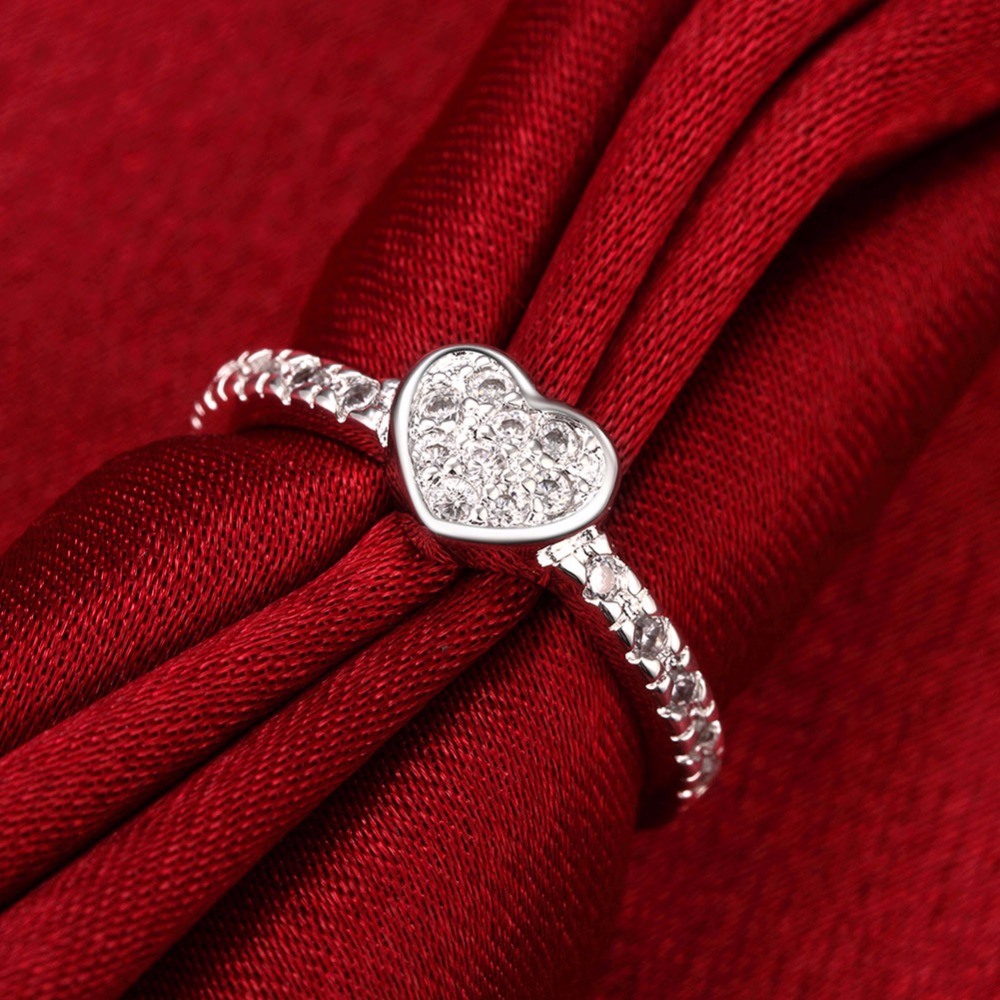 925 sterling silver overlay heart be my valentine ring with clear cz original 2017 new collection jewelrymeekcat mr3065 in rings from jewelry