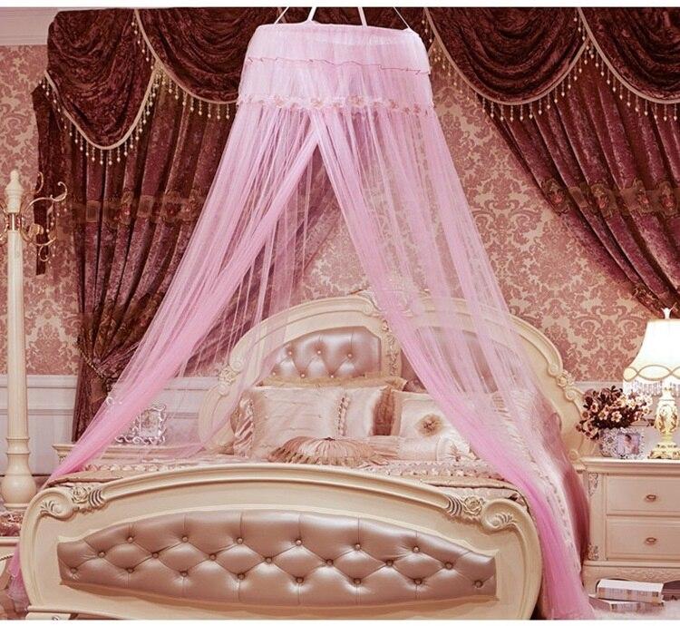hot unid redondo elegante de encaje cama con dosel red curtain dome mosquitera mosquito insectos