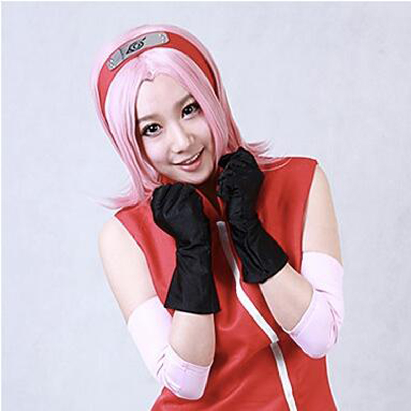 Naruto Haruno Sakura Pink Short Synthetic Hair Anime Cosplay Wigs Heat Resistance Fiber+ Wig Cap