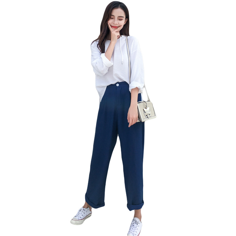 2019 casual wind linen hooded sweater light pleated texture high waist wide leg pants suit women T92