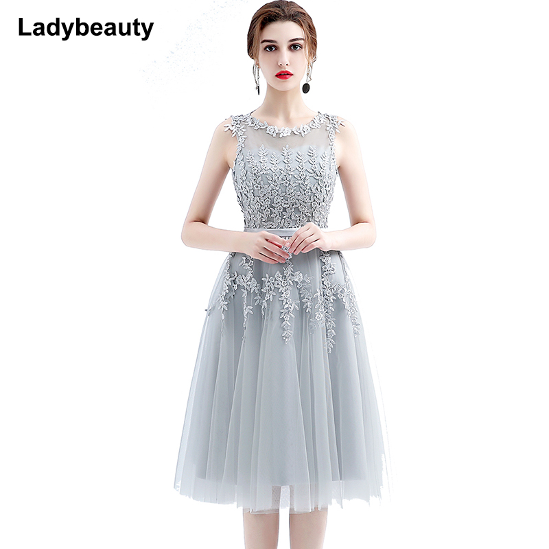 2018 Short Wedding Dresses Elegant Sleeveless Lace Sheer Back Tea-Length Wedding Dress Formal Bridal Gowns Vestido De Noiva