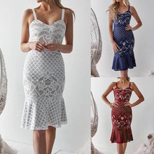Sexy Women Dress Sleeveless Summer Strap Lace Flare Fishtail Sheath Slim Evening Party Gown Dress Women Knee Off Shoulder