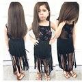 Европейский Американский лето стиль дети печатных Футболку и кисточкой платье дети ребенок девушки платья одежда для девочек