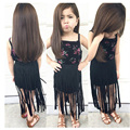 Europeu estilo Americano verão crianças impresso T-shirt e vestido tassle crianças criança meninas roupas vestidos de roupas para meninas