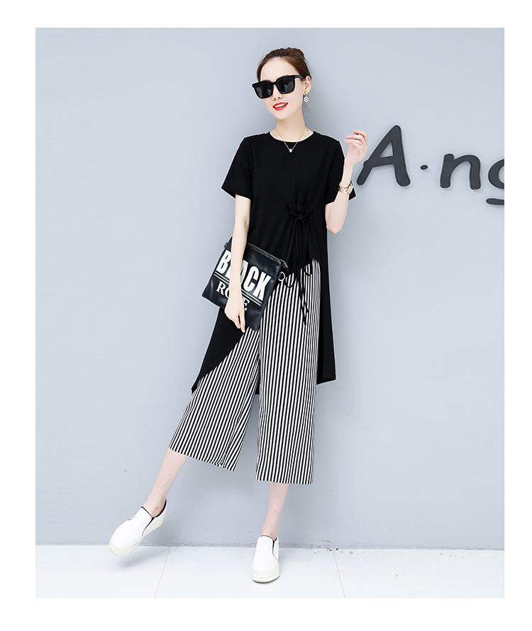 Summer Casual Two Piece Sets Women Black White Short Sleeve Tshirt And Striped Wide Leg Pants Sets Suits Plus Size Women's Sets 44