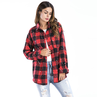 Plaid Shirt Women Paint Point Loose Blouse Fall Winter Long Sleeve Blouses 2017 Long Cardigans Red