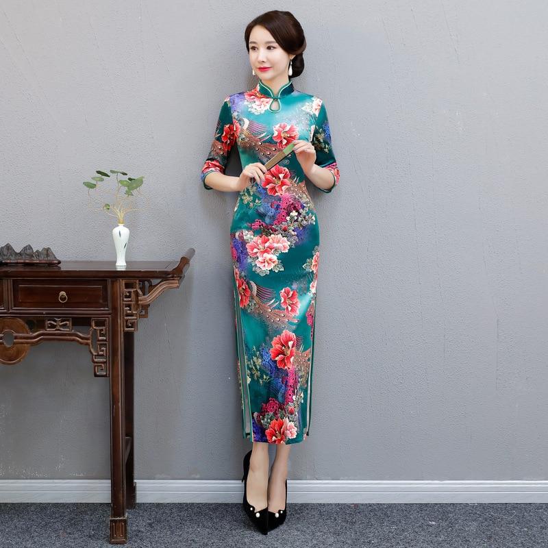 Elegant Lady Print Flower Evening Dress Chinese Vintage Mandarin Collar Cheongsam Half Sleeve Velvet Qipao Vestidos M-4XL