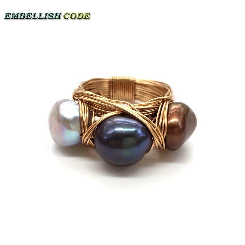 Nouveau design nid d'oiseau style petite taille baroque perles gris paon marron café couleur avec fil d'or main faire anneau