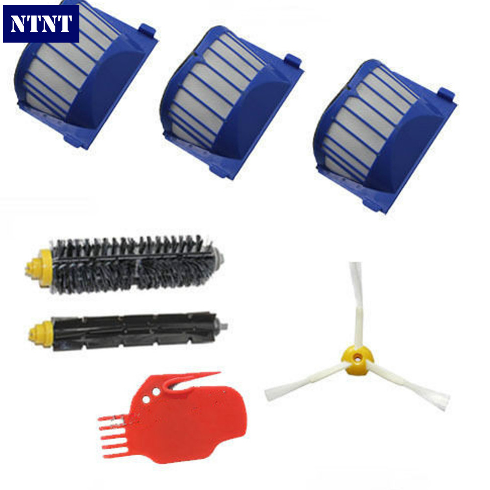 NTNT 3x Robot Filter,1x Side Brush,2X Beater Brush Kit Replacement for iRobot Roomba 600 Series 595 620 630 650 660,7 pcs/lot 2 brush 3 side brush 3 hepa filter 1 cleaning cylinder robot vacuum cleaner 610 611 627 620 630 650 replacement parts