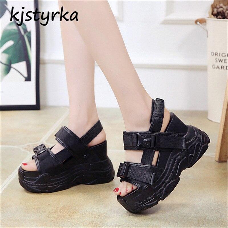 все цены на Kjstyrka 2018 Women Comfortable Sandals Summer Fashion High Quality platform wedges increase ladies shoes Gladiator Sandalias онлайн