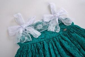 Image 5 - Pettigirl Nieuwste Groen Baby Meisjes Dresseslace Bloem Jurk Met Hoofddeksels En Bows Kids Mouwloze Zomer Kleding G DMGD201 C134