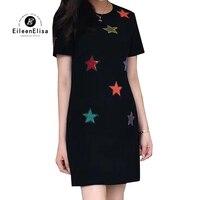 Летние женские платье мини платье трапециевидной формы 2018 короткий рукав Star пайетки Черный вечерние платье элегантный