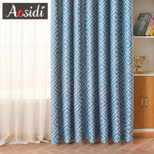 Square Blue Printed Curtains For Bedroom Window Modern Blackout Curtains For Living Room Blinds 80% Shading Cloth Drapes Fabric modern castle printed blackout curtains for living room bedroom window thick curtain drapes children cloth curtains for kid