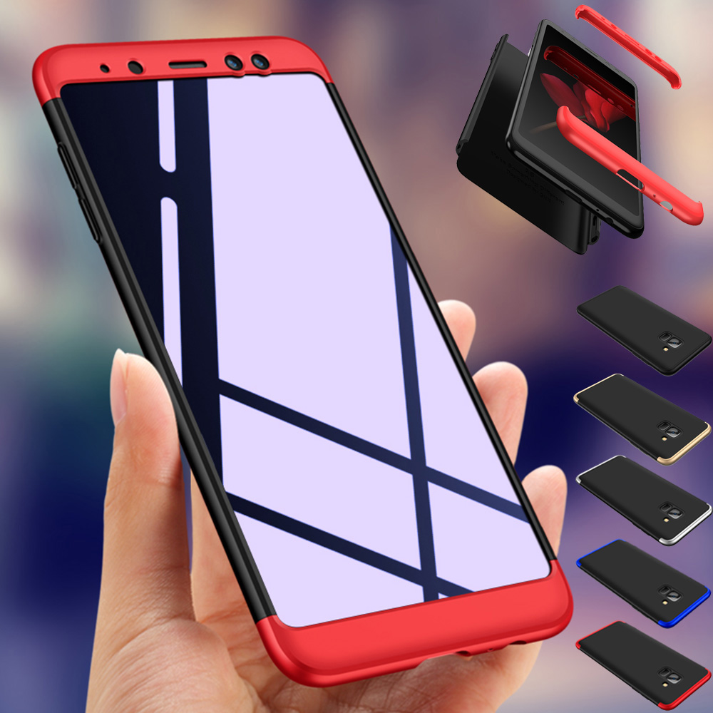 3in1 Full Body Protective Case + Tempered Glass Hard Back Cover For Samsung Galaxy A8 (2018) A5 2018 A530F / A8 Plus 2018 A730F