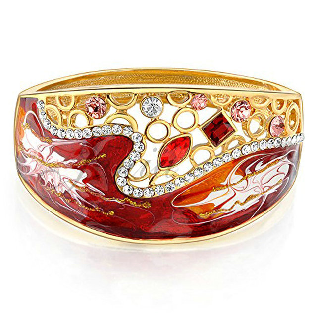 Jenia Gold Plated Colorful Crystal Red Enamel Indian Bangle Bracelets For Women Wedding Jewelry XB070