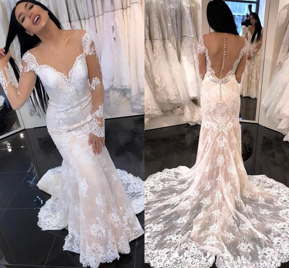 DZW426 Long Sleeve weeding Dresses Lace Appliques Elegant Country Wedding dress Mermaid bridal Button Sheer Back abiti da sposa