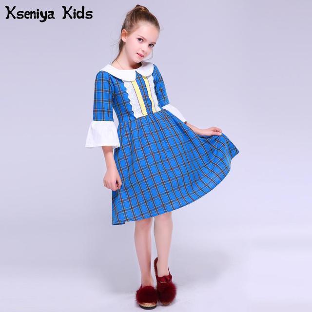 Kseniya Kids Autumn Baby Girl Children s Peter Pan Collar Plaid Long Sleeve Girl s  Baby Cute Lovely f03e22a64