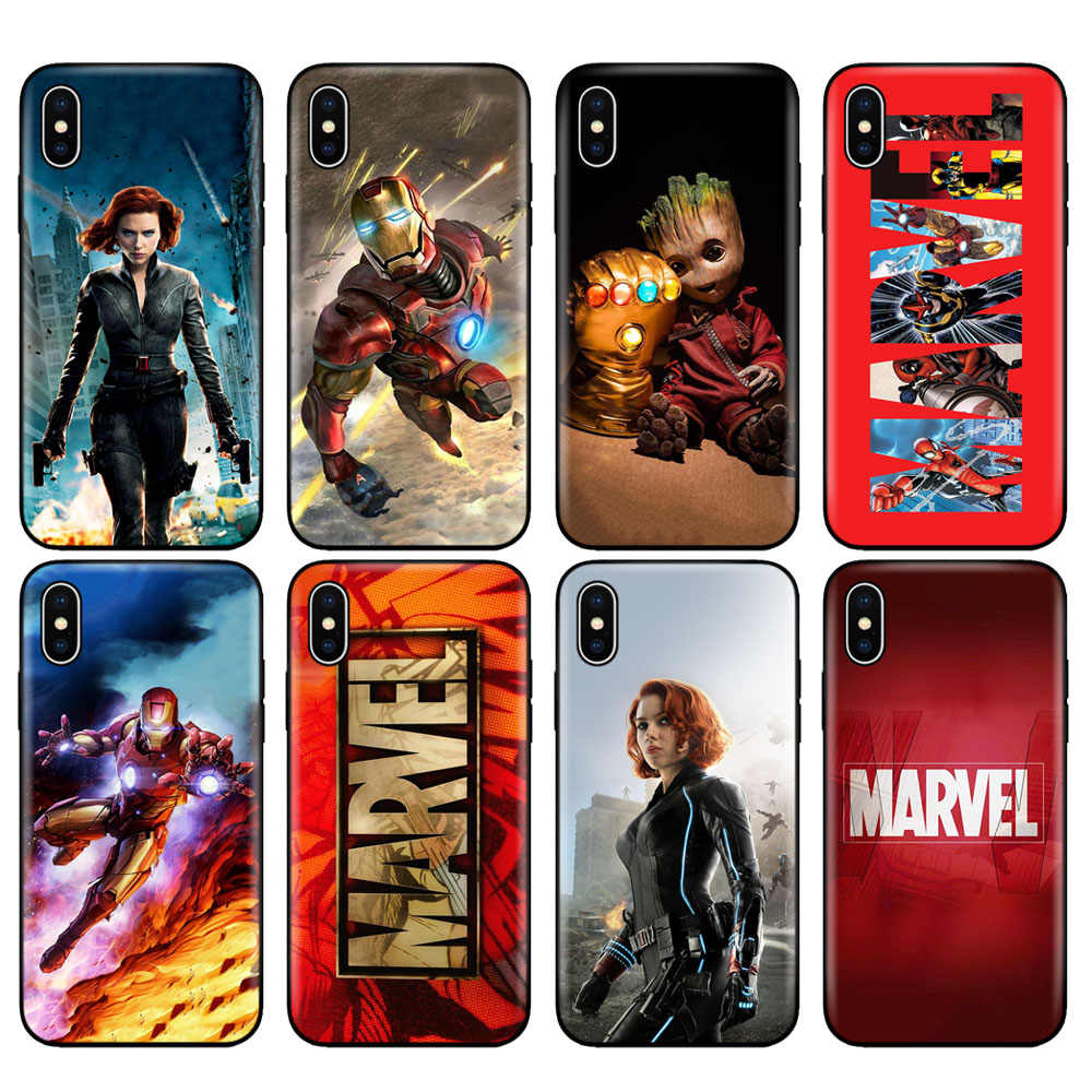 Carcasa de TPU negra para iphone 5 5s se 6 6s 7 8 plus x 10 funda de silicona para iphone XR XS MAX funda Marvel Superhéroes