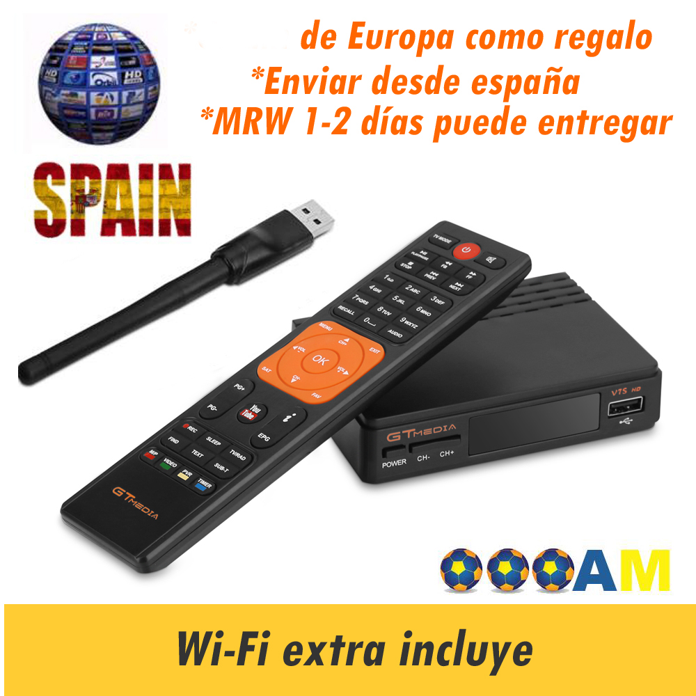 Freesat v7 hd Satellite Receiver gtmedia v7s Decoder gtmedia v7hd Europe Cline for 1 Year 1080P USB Wifi Spain Portugal Channels